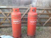 47kg propane calor gas bottles empty,we have 2.if u dont have an exchange gas bottle,the cost is