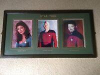 Star Trek framed photographs signed by Patrick Stewart, Jonathan Frakes, Marina Sirtis