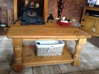 Rustic Pine Coffee Table. Has some marks on top.. Comes with a basket . 92cm W x 60cm D x 47cm H