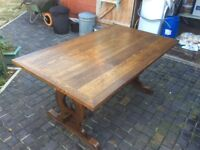 TABLE AND ERCOL CHAIRS X 8