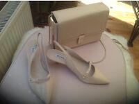 Brand new nude kitten heel sling backs from Dune ,size 6+ matching classy bag