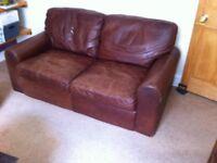 Brown leather sofa - slight damage