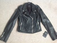 Woman's Black Leather Biker Style Jacket size Small