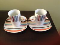 Two espresso cups & saucers