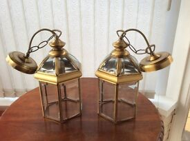 Pair of Antique Brass Carriage Style Light Fittings