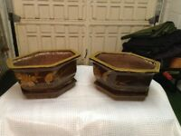 2 unusual Hexagonal Chinese Glazed Pots with Dishes