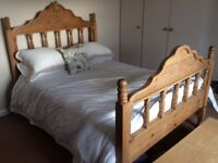 """Solid Pine Doubel 4'6"""" Bed with mattress in good condition"""