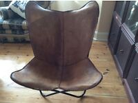 Contemporary leather hide chair