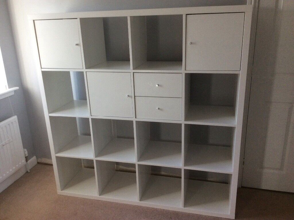 ikea kallax shelving unit white with drawers and doors. Black Bedroom Furniture Sets. Home Design Ideas