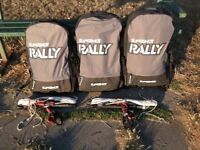 2016 Slingshot Rally kites: 10m & 8m with bags & 2x Compstick Guardian bars