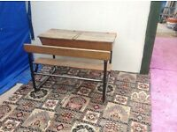 Antique/Vintage Double School Desk with Attached Seating