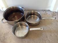 3 saucepans stainless steel