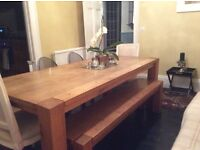 Oak Dining Table and bench. Seats six to eight people, solid wood in excellent condition.
