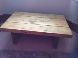 STILL AVAILABLE small coffee table table pine finish reclaimed railway sleeper wood