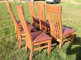 Solid oak dining room chairs x 6
