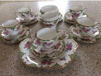 Aynsley Tudor green wavy edge bone china tea service