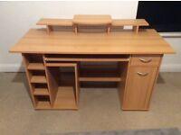 Beech veneer computer desk