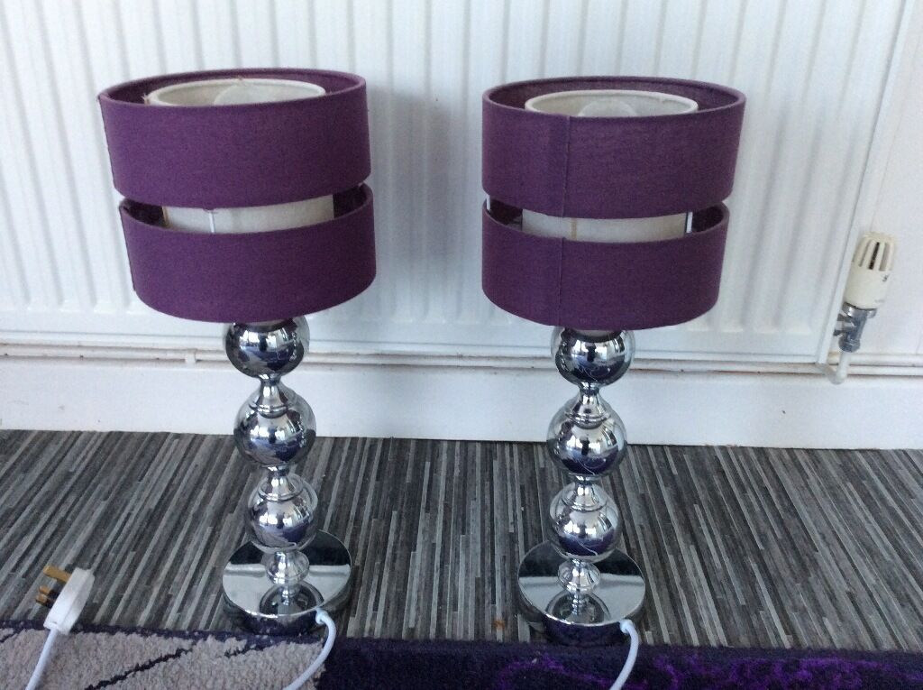 2x Table Lamps Chrome With Purple ShadesVery Good