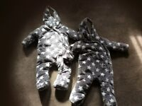New Twins/boy or Girl winter outdoor zip up suits grey and white