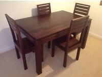 Chunky Dark Wood Dining Table & 4 Chairs