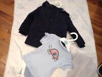 Boys jacket and romper suit and top outfit age 9-12 months
