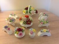 Royal Doulton floral china ornaments (10)