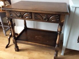 Solid oak side table with drawers