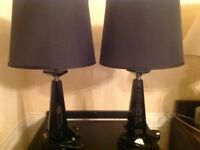 Pair of quality black table lamps