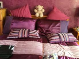 Double bed quilt cover set and curtains