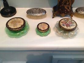 THREE BEAUTFIL ANTIQUE GLASS POWDER/TRINKET BOWL, DECORATIVE LIDS ~ PRICE IS FOR THE SET