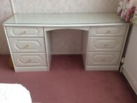 White Schreiber Dressing Table with glass top and handles