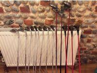 Assorted golf clubs, TPX Tour Power Petron, Mercury Golf Jumbo drivers, Aldridge Woods