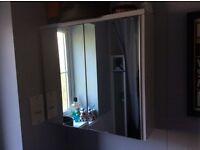 Double swivel mirror door bathroom cabinet.