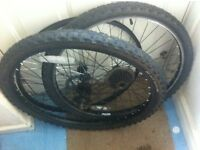 """Black 26"""" wheel front and back"""