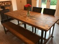 Wooden bench for dining table or garden? Industrial look 152cm long