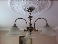 Light fitting metal with three bulbs with glass shades high quality fitting