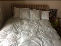 Laura Ashley preloved bedding and coordinating curtain set (cream and duck egg)