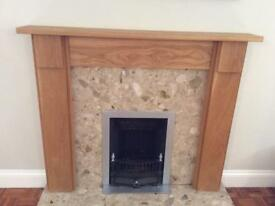Oak fire surround, marble back and hearth