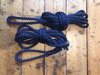 1 x Pair 16mm 3 Strand Polyester Mooring Lines Navy Blue - NEW