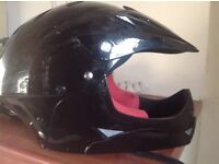 Motorcycle helmet and chest protector for junior.