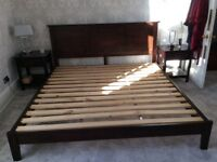 Super king size bed frame, matching bedside cabinets and tall boy for sale