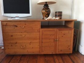 Golden pine sideboard with 3large drawers and side cupboard