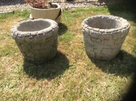 2 lovely stone pots