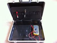 Computer engineers heavy duty metal rimmed case with free electric tester