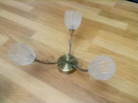 Pair of almost new 3-lamp antique bronze ceiling light fittings.