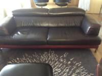 Three piece leather sofa set