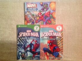 3 Marvel Spider-man reading books.