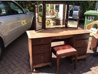 Beautiful Solid Stag Minstrel Dressing Table With Mirror and Stool £70