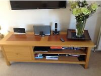 Oak with Walnut inlay TV Unit and matching nest of 2 tables