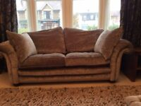 Luxury 3-seater silver velvet sofa & matching pouffe, less than 1 year old, fire retardent